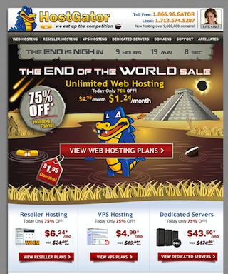 Hostgator – End of the World Sale 75% OFF