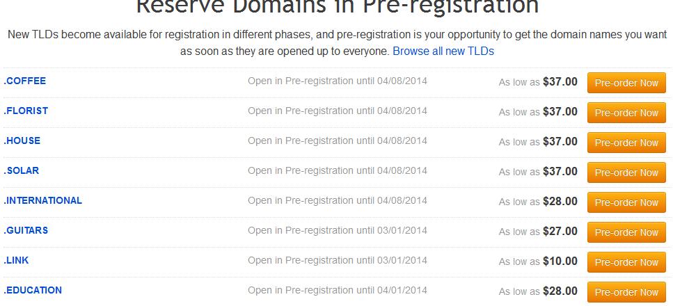 Register New Domain gTLD