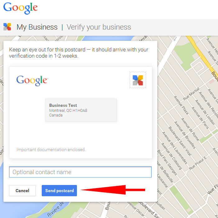 Google Business verification code