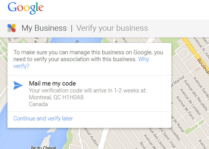 Verify for google local places