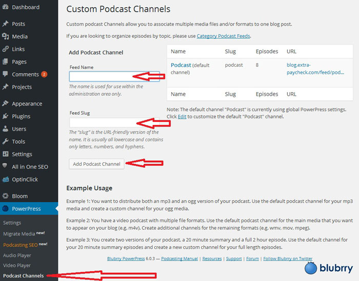 Blubrry Podcast Settings