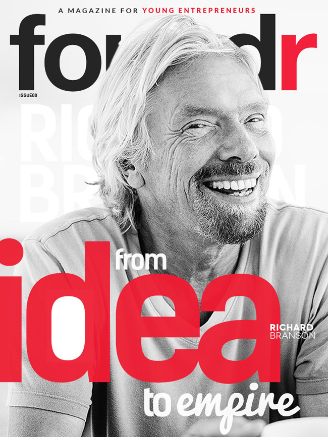 Richard Branson on the cover of Foundr Magazine