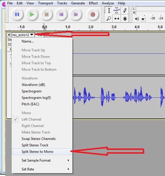 Split stereo track to mono in audacity