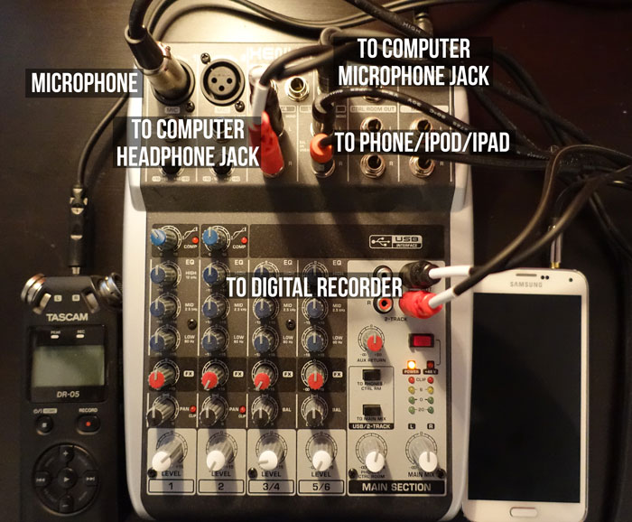 Set up mixer for podcasting