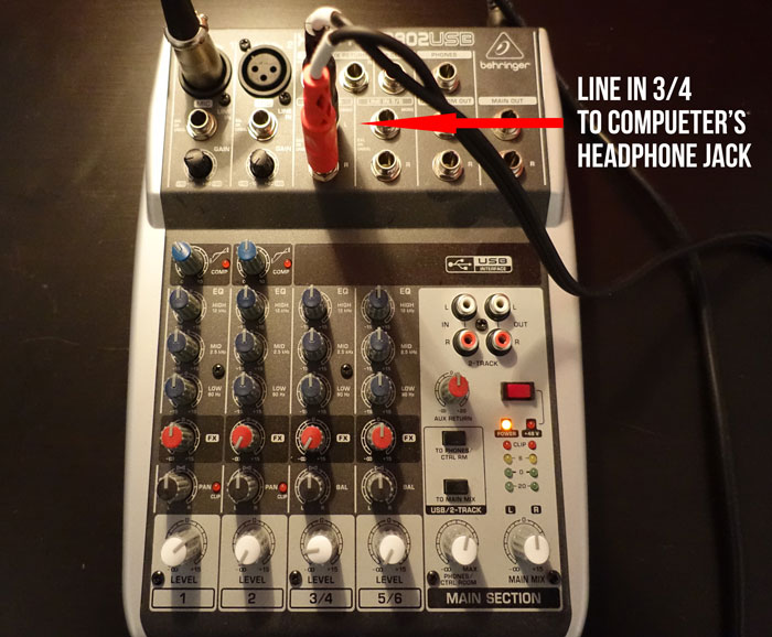 line in of mixer to computer