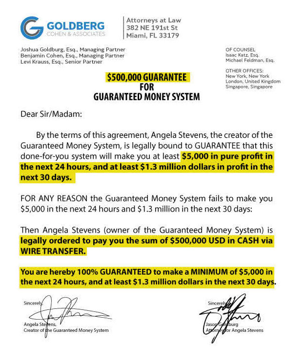 Guaranteed Money System scam