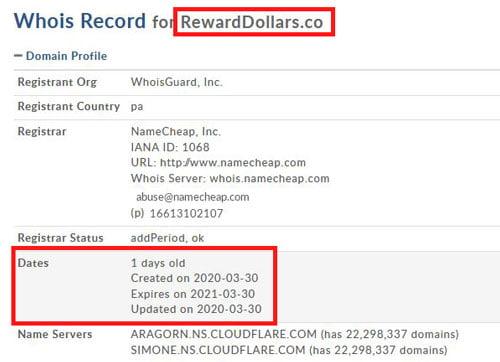 Reward Dollars domain
