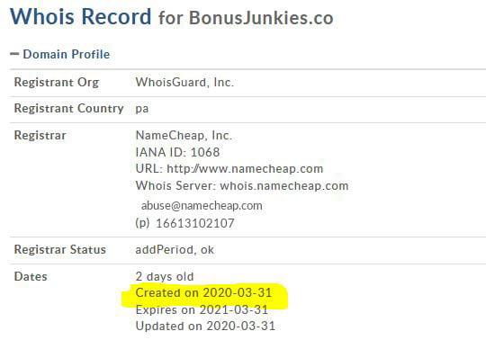 bonusjunkies domain name