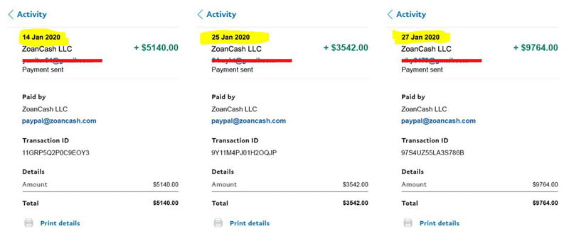 Zoan Cash false payments